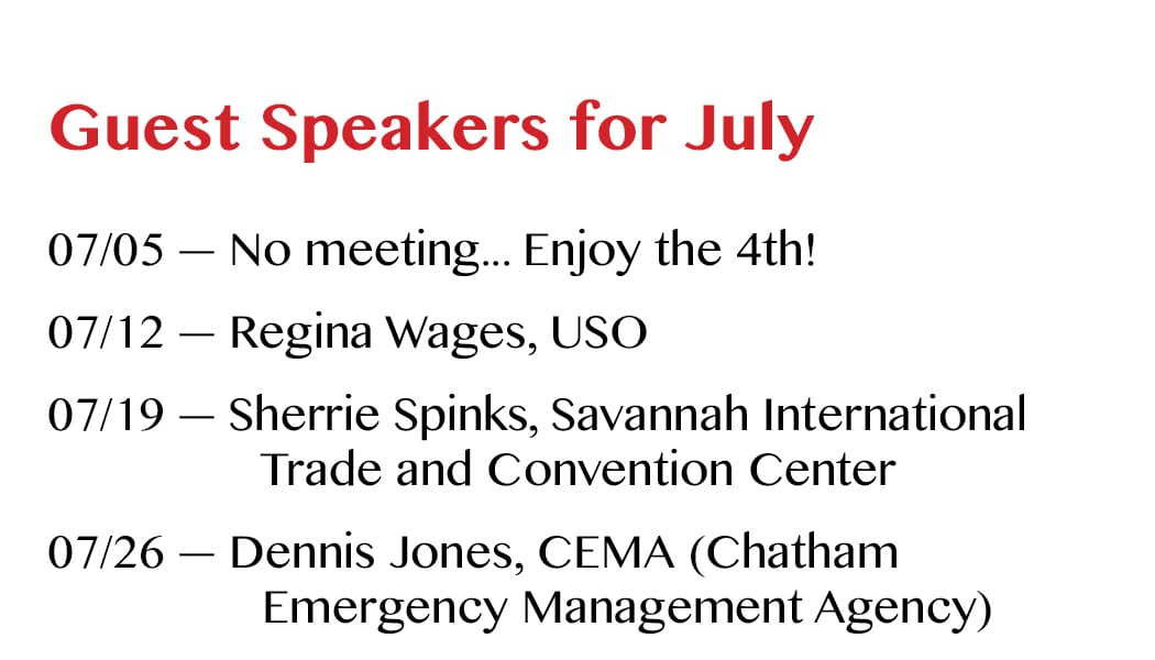 Guest Speakers for July