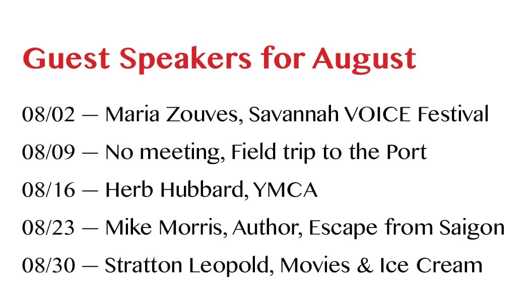 Guest Speakers for August