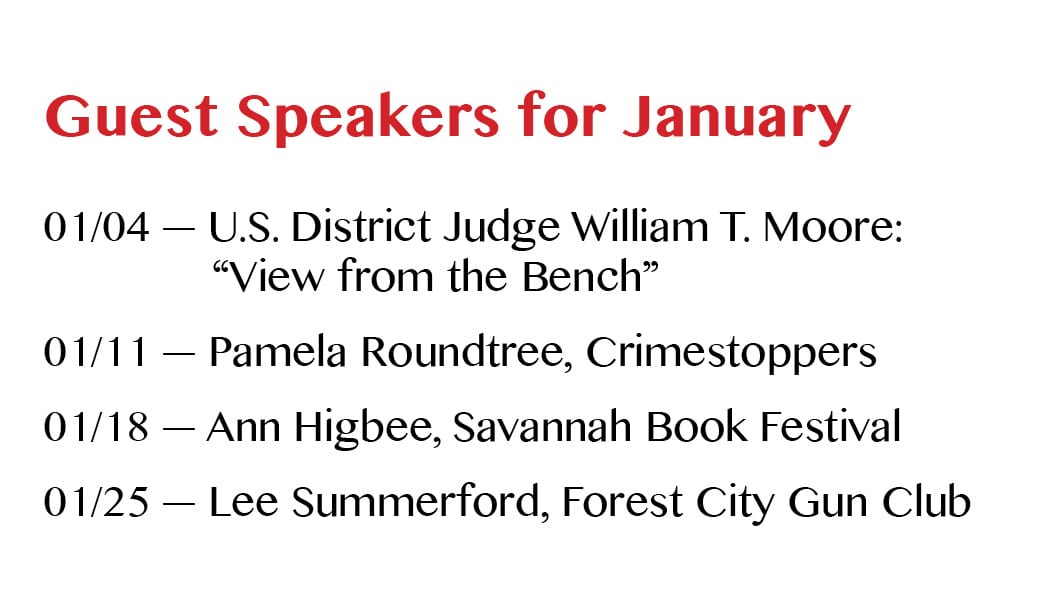 Speakers for January