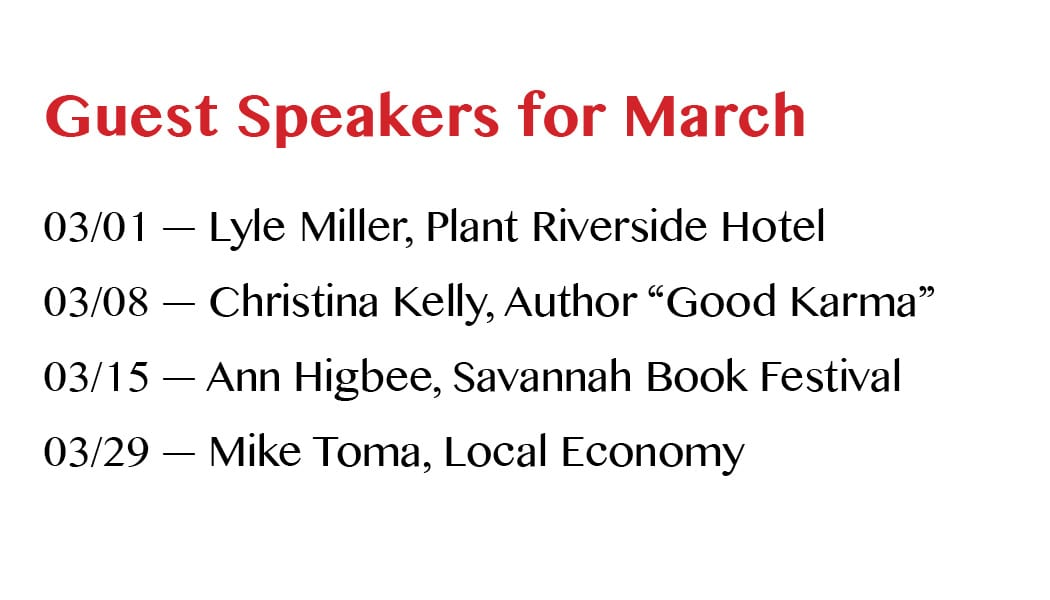 Guest Speakers for March