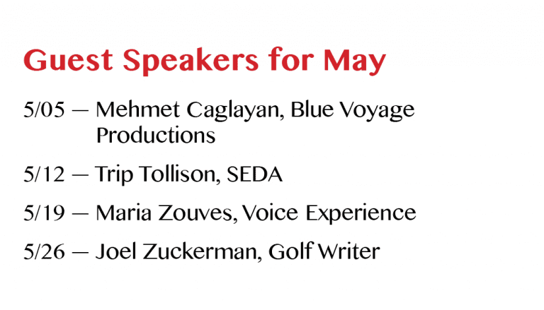 May 2016 Guest Speakers