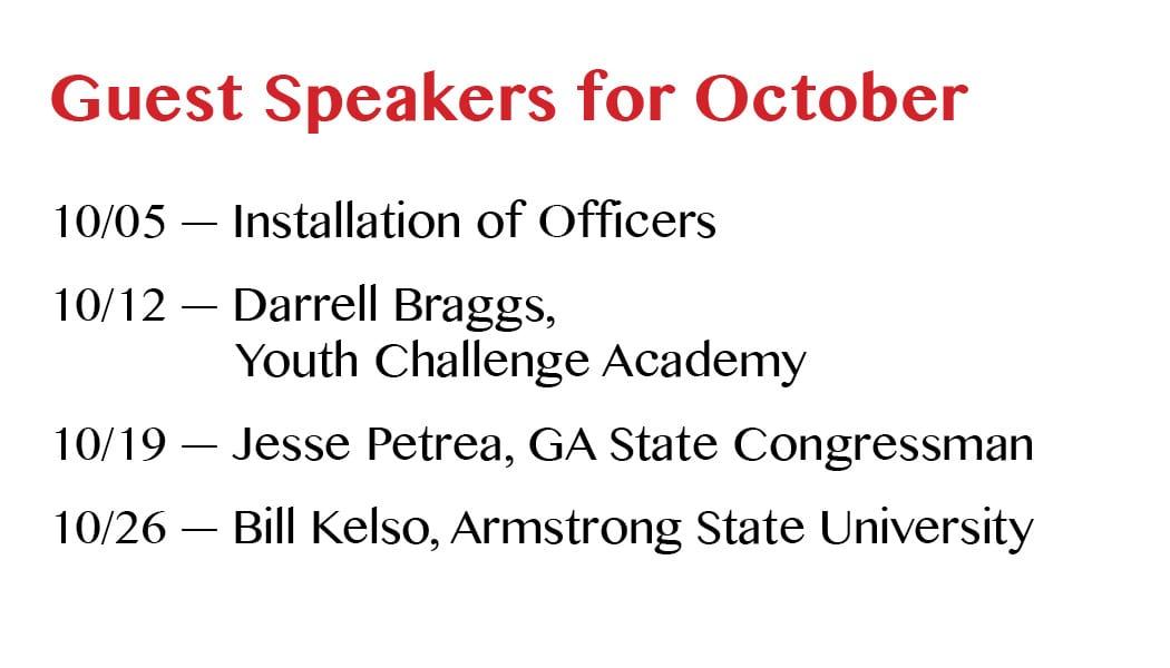 Speakers for October