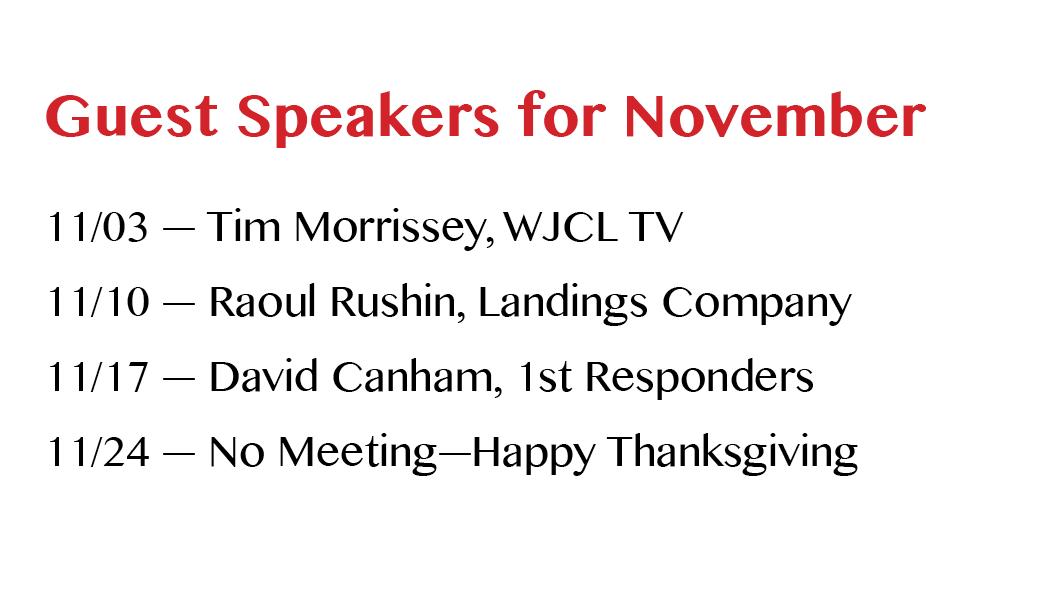 November 2016 Guest Speakers