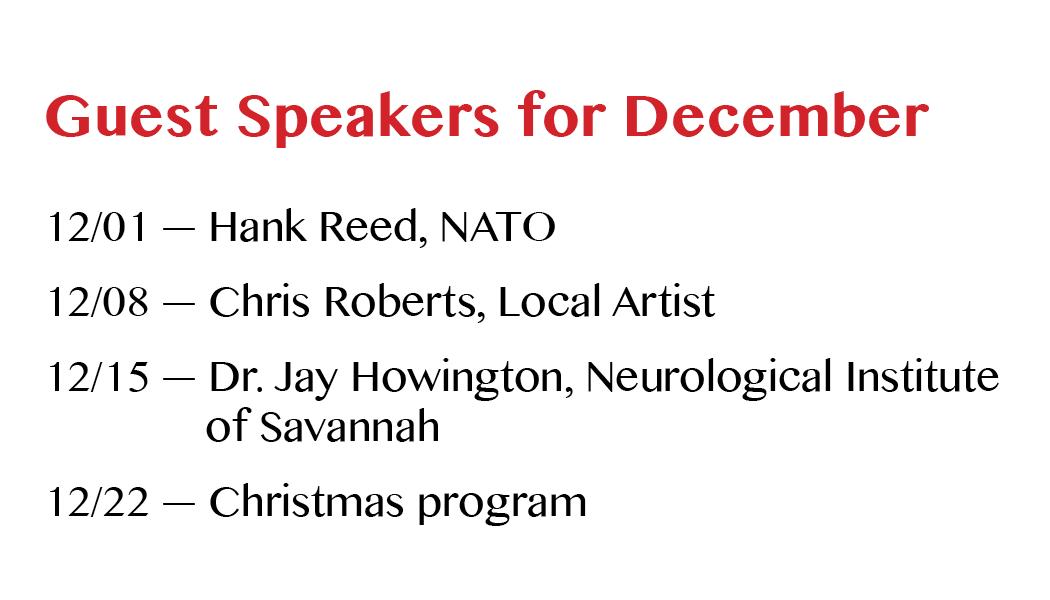 December 2016 Guest Speakers
