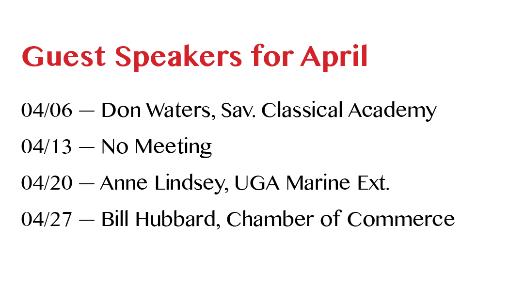 Breakfast Meeting Speakers—April