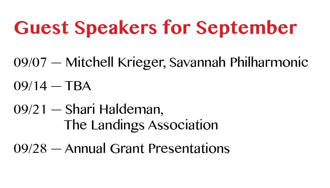 Speakers for September